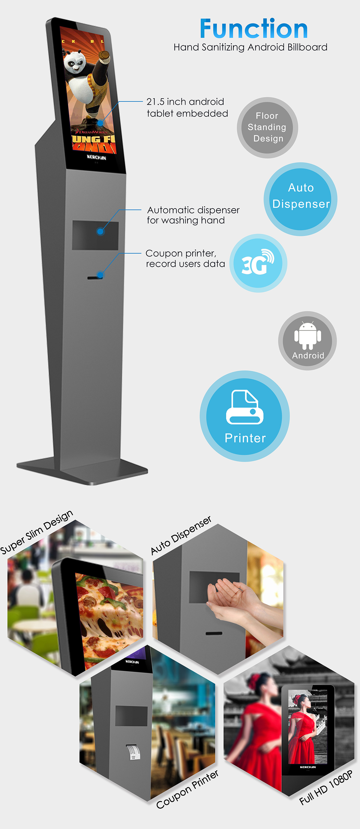 Coupon Printer 21 5inch Advertising Kiosk It S A Kind Of Samll Size Digital Signage It Could Use For Retail Digital Signage Or Wifi Digital Signage Auto Hand Dispenser And Coupon Printer Lcd Advertising