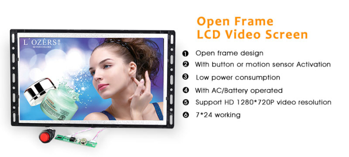 7 inch open frame screen