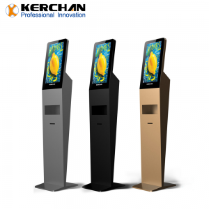 Kerchan 1080p soap liquid dispenser 21.5inch ad player with non contact infrared temperature measurement