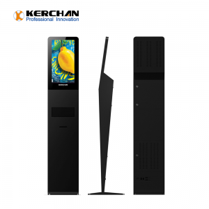 Kerchan 21.5 inch auto foam liquid dispenser  advertising display ad player with infrared human body temperature measurement