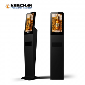 Kerchan 21.5 inch automatic foam soap dispenser kiosk with hand sanitizer advertising kiosk