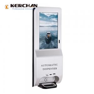 Kerchan Ad player Digital signage hand sanitizing with 1080p auto foam liquid dispenser