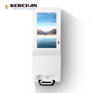Kerchan Ad player hand sanitizing signage with 1080p auto foam liquid dispenser