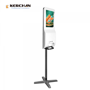 Kerchan Ad player lcd digit billboard hand sanitizing with Touchless Automatic Sensor Foaming Liquid Soap Dispenser