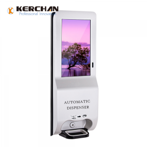 Kerchan Ad player sanitizer dispenser advertising display with ad billboard automatic soap liquid dispenser