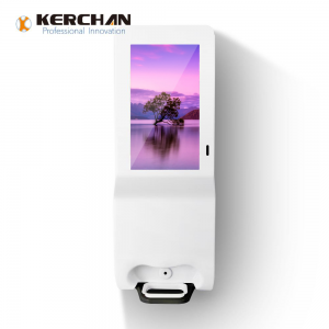 Kerchan Ad player signage sanitizer dispenser with ad billboard automatic soap liquid dispenser