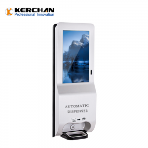 Kerchan New Product billboard digit signage automatic soap dispenser with 21.5 inch sanitizer dispenser