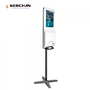 Kerchan New Product hand sanitizing lcd kiosk with ad billboard automatic soap liquid dispenser