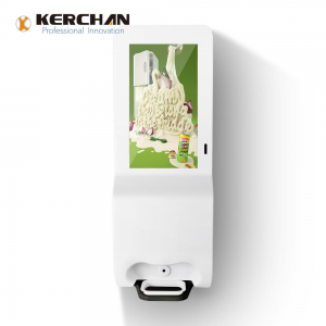 Kerchan digtial signage hand sanitizer kiosk with 21.5 inch automatic liquid foam dispenser