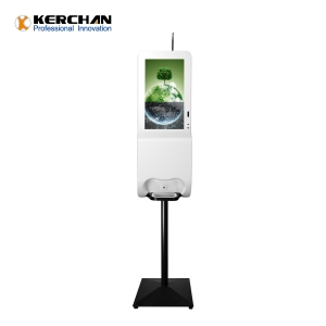 Kerchan new arrived 1080p auto liquid sanitizing wall mount digital signage hand sanitizer dispenser