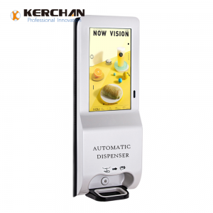 Kerchan new product 1080p auto soap sanitizing  Ad player signage sanitizer dispenser with ad billboard automatic soap liquid dispenser