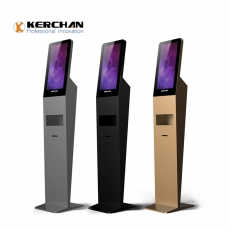 "La fábrica de China Floor Standing 21.5 ""Android Display con dispensador e impresora para desinfectante de manos"