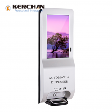Chine société Kerchan Ad player sanitizer dispenser advertising display with ad billboard automatic soap liquid dispenser