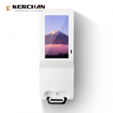 Chine société Kerchan Ad player sanitizer dispenser advertising screen with 1080p auto foam liquid dispenser