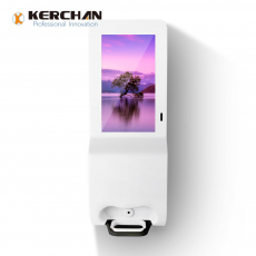Chine société Kerchan Ad player signage sanitizer dispenser with ad billboard automatic soap liquid dispenser