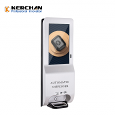 Kerchan Automatic lcd screen 1080p auto foam liquid dispenser for hand wash lcd digital billboard hand sanitizer dispenser stations body temperature detection