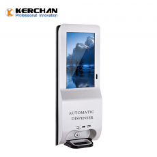 Chine société Kerchan New Product billboard digit signage automatic soap dispenser with 21.5 inch sanitizer dispenser